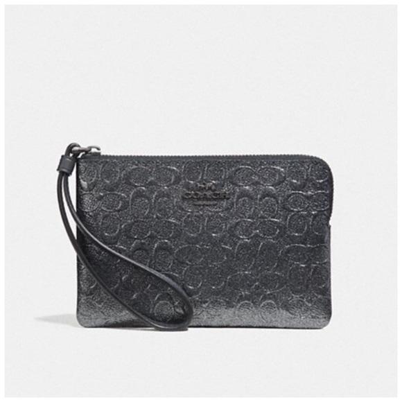 Coach Handbags - Coach Corner Zip Wristlet Charcoal Gray NWT